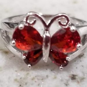.925 silver plated Red butterfly ring